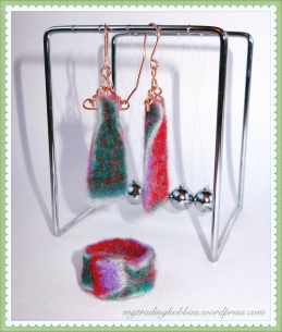 Needle Felted Earrings and Needle Felted Ring