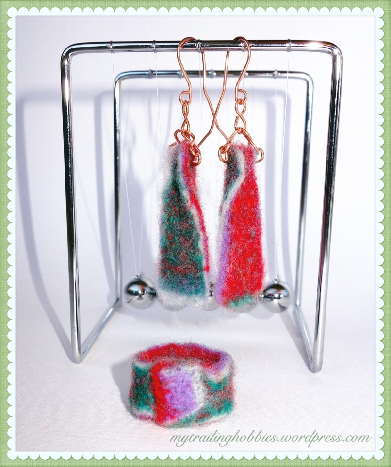 Needle Felted Earrings and Ring Set - ColorPlay (c)mytrailinghobbies.wordpress.com