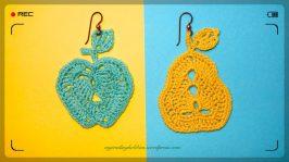 Crochet Earrings - Apple and Pear - Healthy Choices (c)mytrailinghobbies.wordpress.com