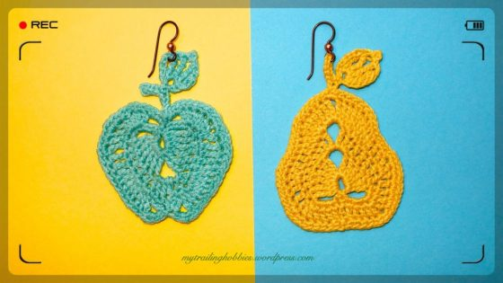 Crochet Earrings - Apple and Pear - Healthy Choices (c)mytrailinghobbies.wordpress.com