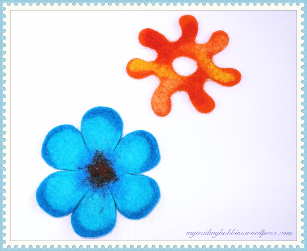 Felt Coasters: needle felted and wet felted Sunshine coaster and wet felted Flower