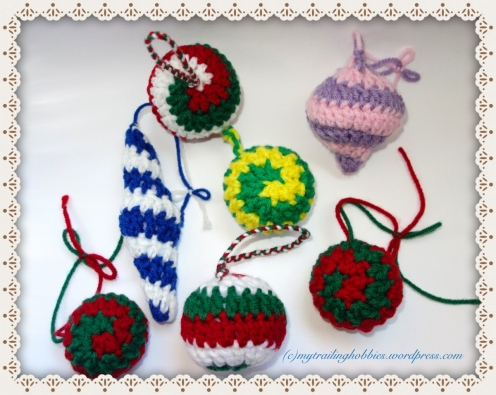 Snowballs and Icicles in Color Crochet Ornaments (c)mytrailinghobbies.wordpress.com