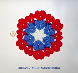 hearts and flowers crochet block (c)bohemian flower, mytrailinghobbies