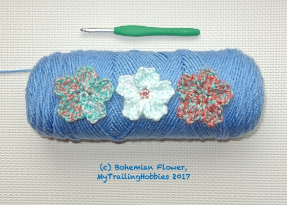 cherry blossom crochet flower pattern ©mytrailinghobbies.wordpress.com