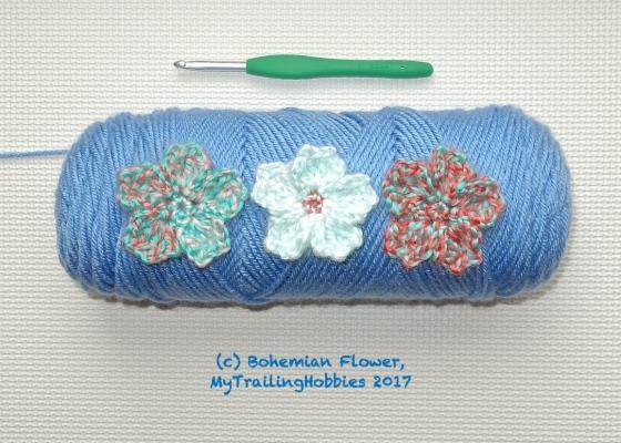cherry blossom crochet flower pattern ©mytrailinghobbies.wordpress.com