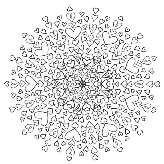 Love Mandala - Free Coloring Page - Bohemian Flower - MyTrailingHobbies - (c)mytrailinghobbies.wordpress.com