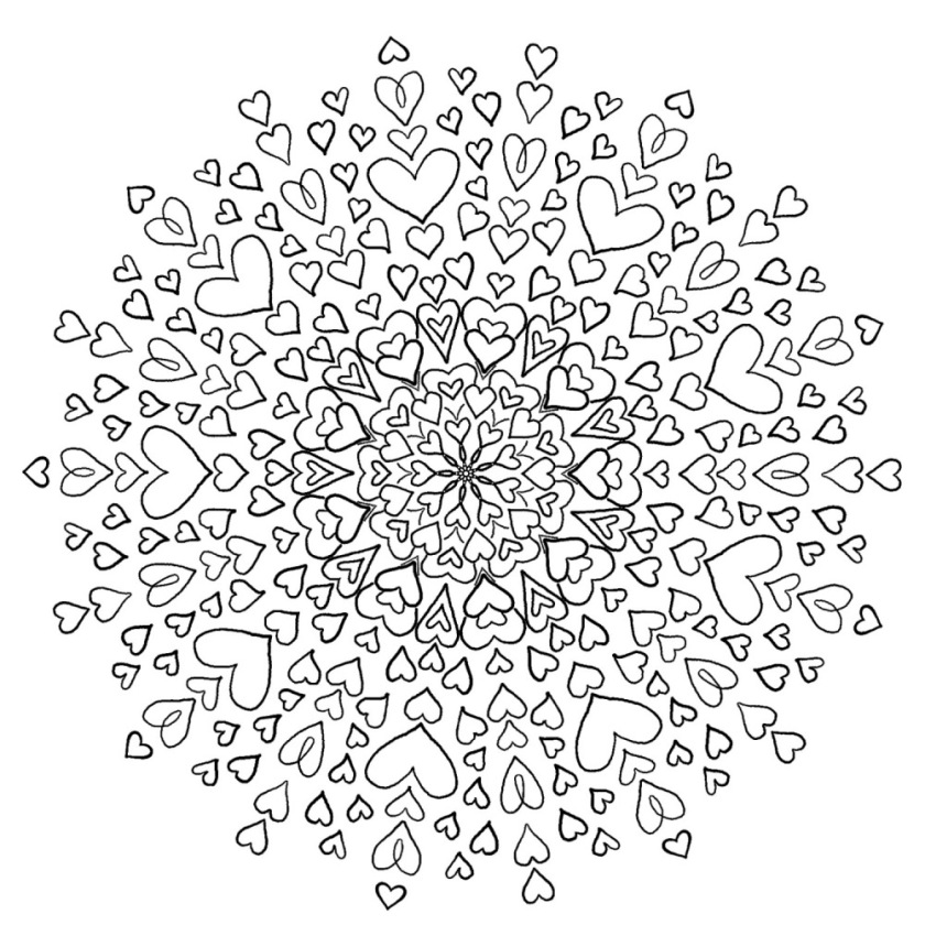 Love Mandala - Free Coloring Page - Bohemian Flower - MyTrailingHobbies - (c)mytrailinghobbies.wordpress.com