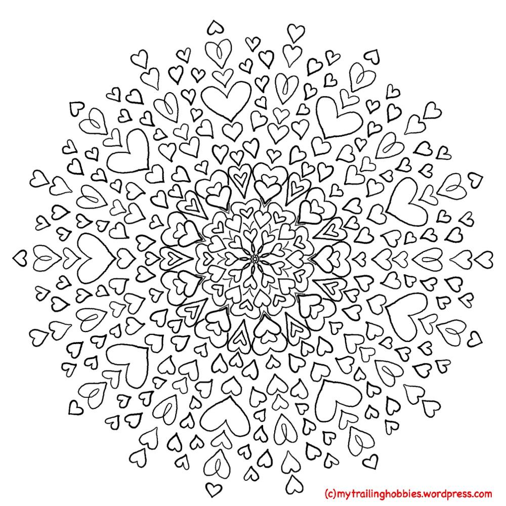 Love Mandala - Valentine Coloring Page - Bohemian Flower - MyTrailingHobbies