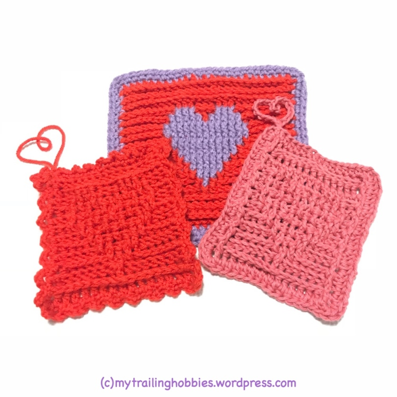 Textured hearts scrubbies - bohemian flower - mytrailinghobbies.wordpress.com